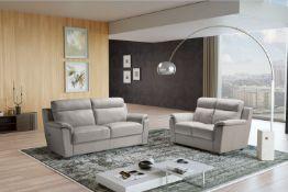 EDNA Italian Leather 3 & 2 Seat Sofas - Light Grey Cenere. RRP £3399