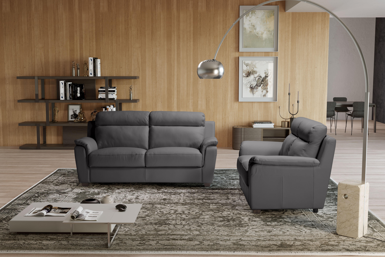 EDINA Italian Leather 3 & 2 Seat Sofa - Dark Grey Grigio RRP £3399 - Image 3 of 4