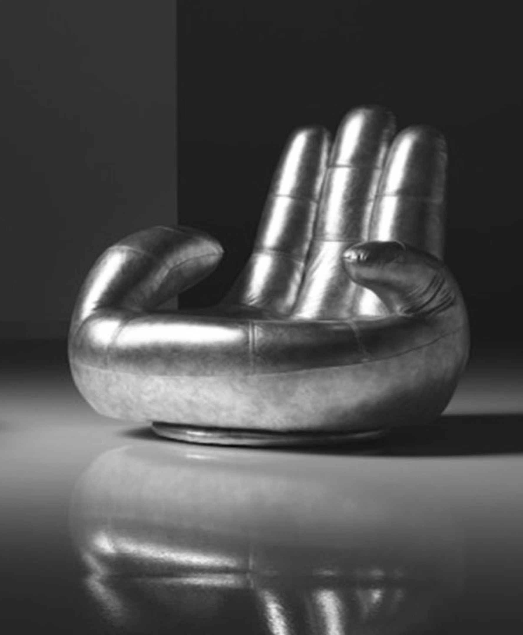 SOSIA 'The Hand' Italian Leather Chair in Silver Leather RRP £1699