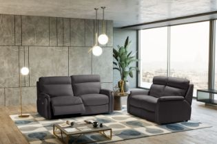 FOX Italian Leather Recliner 3 & 2 Seat Sofa - Dark Grey Grigio RRP £4802