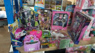 (R3I) 12 Items . To Include Pixy Punks, Monster High, Gothic Angels, Hairdorables, Super Mario Pira