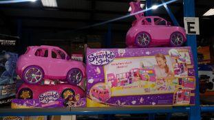 (R3E) 4 Items : 1 X Zuru Sparkle Girlz Expandable Campervan & 3 X Sparkle Girlz Cars