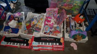 (R3I) Contents Of Floor. To Include 5 X Kid Connection Electric keyboard, Glitter Art, Long Black W