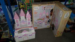(R3L) 2 X Wooden Princess Castle (1 X Built With Box)