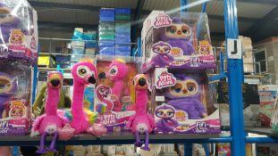 (R3J) 8 Items : 4 X Zuru Pets Alive Fifi The Flossing Sloth, 2 X Zuru Pets Alive Frankie The Funky