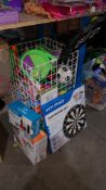 (R3E) A Quantity Of Outdoor / Indoor Games To Include Tennis Racket, Dartboard Set, Portable Table