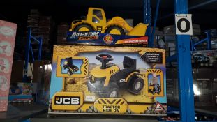 (R30) 2 Items : 1 X JCB Tractor Ride On & 1 X Adventure Force Construction Vehicle