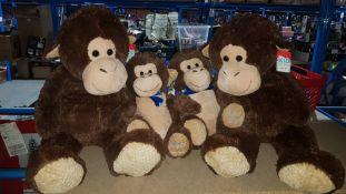 (R7M) 4 Kid Connection Items : 2 X Large Soft Gorilla & 2 X Medium Soft Gorilla