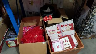 (R7G) Contents Of 3 Boxes : Mixed Valentine Items To Include Cards, WPC Hats, Sexy Message Prescrip