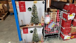 (R7H) 4 X Pop Up Snowy Tree Pre Lit (5ft Ð 1.5m) & Contents Of Basket : Mixed Christmas Items To In