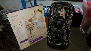 (R7N) 2 Items : 1 X Dreambaby Arizona Extenda Gate & 1 X Nania Zebra Car Seat