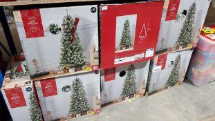 (R7D) 7 X Pop Up Snowy Tree Pre Lit (5Ft Ð 1.5M) RRP £30 each