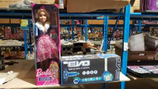 (R7K) 2 Items : 1 X Evo Light Up Move N Groove Scooter Blue & 1 X Barbie Princess Best Fashion Frie