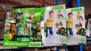 (R7G) 3 X Asda Toys : 2 X Supermarket & 1 X Deluxe Checkout