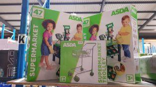 (R7J) 3 Asda Toy Items : 2 X Supermarket & 1 X Supermarket Trolly