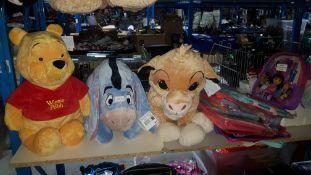 (R7N) 12 Items : 3 X Large Disney Plush Toys (Winnie The Poo, Eeyore & Simba) & 9 X Mixed Dora The