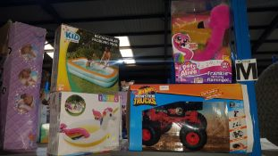 (R7M) 4 Items : 1 X Hot Wheels Monster Trucks, 1 X Zuru Pets Alive Frankie The Funky Flamingo, 1 X