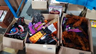 (R4F) Halloween. Contents Of 3 Boxes. To Include Dress Up Skirt, Pumpkin Head Ice Cube Tray. & Head