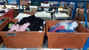 (R4E) Clothing. Contents Of 2 Boxes. A Quantity Of Mixed Style T-Shirts & Flip Flops (All New)