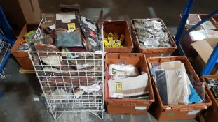 (R4P) Fabric. Contents Of Cage & 2 X Containers. A Quantity Of Dunelm Mill / Trendmost. Curtain Tie