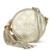 Chanel Champagne Gold Lambskin Vintage Timeless Round Fringe Pochette