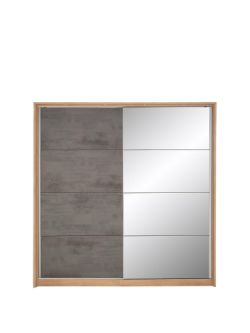 boxed item eclipse 2 doors slider wardrobe [oak/grey] 214x208x65cm rrp: £946.0