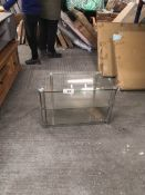 compact glass tv unit clear