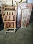 wooden garden set with 4 chairs and a bench