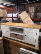 seagrass basket tv unit grey and oak