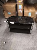 compact glass tv unit black