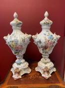 Pair Of Majolica Vases From The 19th Century Bassano Italy