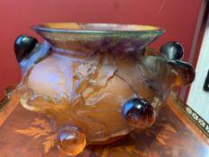 Daum, Large Figs Bowl Vase, Ambar French Crystal, Pate De Verre.