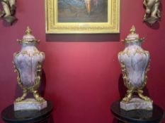 Mid 19th-Century Magnificent Bronz Ormolu Urns With Pink Marble And Lids.