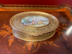 French ormolu box, with painting, 19th-century