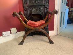 Curule Mahogany Chair, Empire Style, 19th-Century