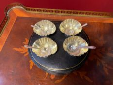 Silver Caviar Plate With Four Silver Spoons