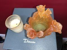 Daum Crystal Roses Votive Candleholder Rose Amber