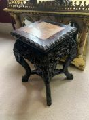 Chinese rosewood and marble pedestal table