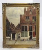Pieter de Hooch Dutch Golden Age Print Victorian Set in Gilt Frame