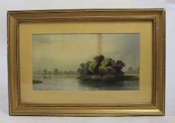Antique Landscape Print Set in Gilt Frame