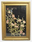 Floral Needlework Set in Gilt Frame