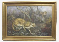 Leopards 20th c. Oil on Canvas Set in Gilt Frame