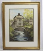 Bridge over River' Watercolour Landscape
