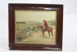 Antique 19th c. Coloured Country Print Set in Frame