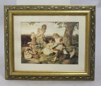 Print of Country Children Set in Gilt Frame
