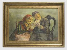 Signed Oil Painting Possibly Armenian Set in Gilt Frame