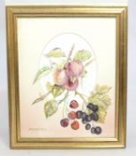 Floral Watercolour Mounted & Set in Gilt Frame
