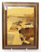 Italian Inlaid Wall Panel Coastal Town
