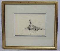 """Concord Departure"" Aviation Art Studio Framed"