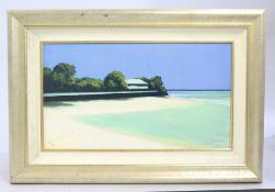 Modern Paradise Beach Landscape Giclee Print Set in Frame